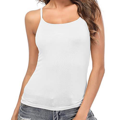 SLIMBELLE Damen BH-Hemd Verstellbare Spaghettiträger Unterhemd mit Unsichtbarer BH ohne Bügel Rundhals Basic Tank Tops Weiß für Cup A-C 3XL -