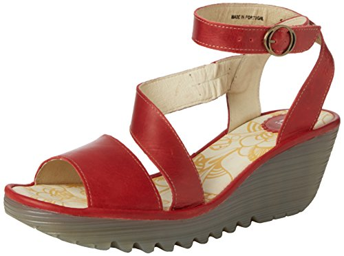 FLY London Yesk, Sandales Bride Cheville Femme Rouge (Rug Red)