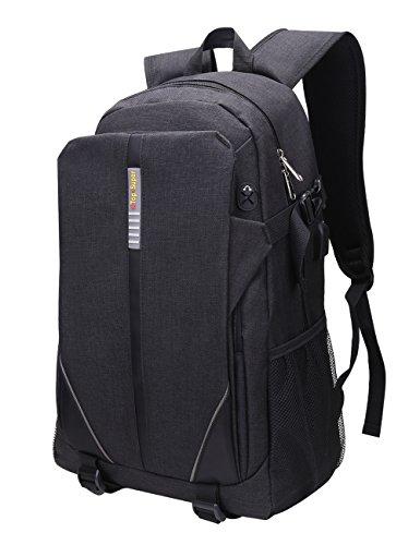 Zaino per portatili da 15,6 pollici, borsa sottile business per laptop con porta USB di ricarica e chiusura, in poliestere impermeabile, per laptop notebook MacBook Pro da 15, 15,6 e 16 pollici nero Black