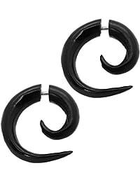 2 Finto Espirales Estensor falso piercing oreja fakeplug dilatador fake plug orgáncia madera cuerno hueso negro