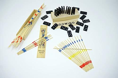 2 er Spiele Set Mikado und Domino 2 Stück Spielesammlung aus Holz in praktischer Holzbox mit Spielanleitung (incl. Mini`s -Überraschung) |logisches Denken | förderung Motorik |Sparset (Holz Domino Set)