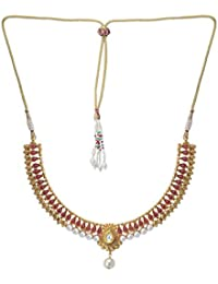 Jewel Hevean Golden And Red Pendant Necklace Set For Women
