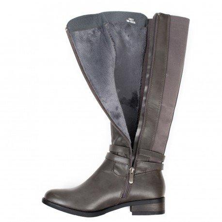 Ideal Shoes - Bottes cavalières en similicuir avec bandes élastiques Stevie Gris