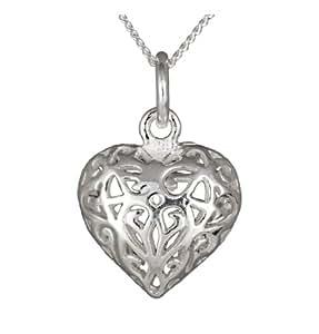 Ornami Sterling Silver Filigree Heart Pendant on 46cm chain