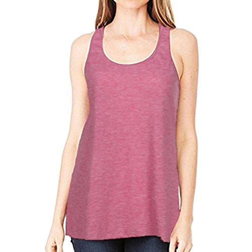 SANFASHION Frauen ärmellose Sport Yoga Solid Flowy Baumwollbluse (L, Rosa)