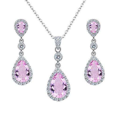 Clearine Damen 925 Sterling Silber Hochzeit Braut Cubic Zirconia Unendlichkeit Tropfen Anhänger Halskette Dangle Ohrringe Set Pink Turmalin Farbe