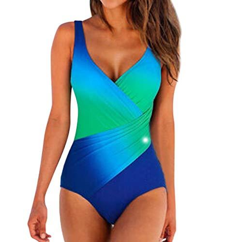 hmtitt Damen Beachwear, 2019 Sommer Sexy Ladies Padded Gradient Einteiliger Monokini-Badeanzug mit V-Ausschnitt Badeanzüge Schwimmkostüm Beachwear Badebekleidung Bikini