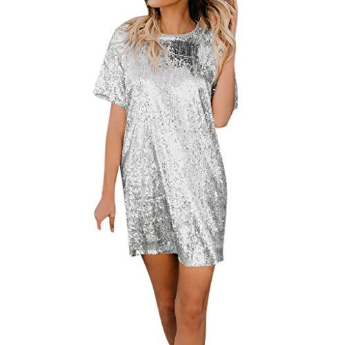 AMUSTER Damen Knielang Hemdkleid Kurzarm Blusekleid Sommerkleid Rock Mädchen Pailletten Kleider Frauen Mode Kurz Kleid Minikleid Partykleid