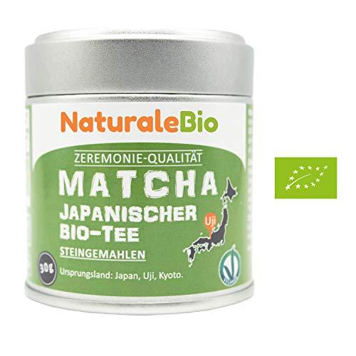 Matcha-Tee-Pulver-Bio [ Ceremonial Grade ] Original Green Tea aus Japan | Grüntee-Pulver Matcha Zeremonie-Qualität, hergestellt in Uji, Kyoto | Ideal zum Trinken, Kochen und in der Latte | 30g Dose.