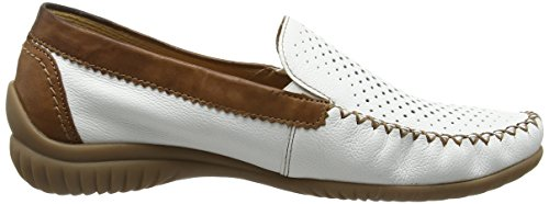 Gabor Sharona Damen Mokassin White (White Leather/Copper Leather Trim/Heel Counter.)