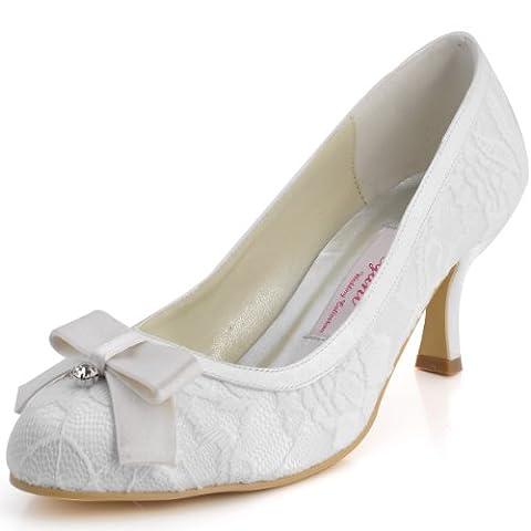 ElegantPark EL-003 Women Round Toe Prom Mid Heels Bow Diamond Lace Pumps Wedding Party Court Shoes Ivory UK