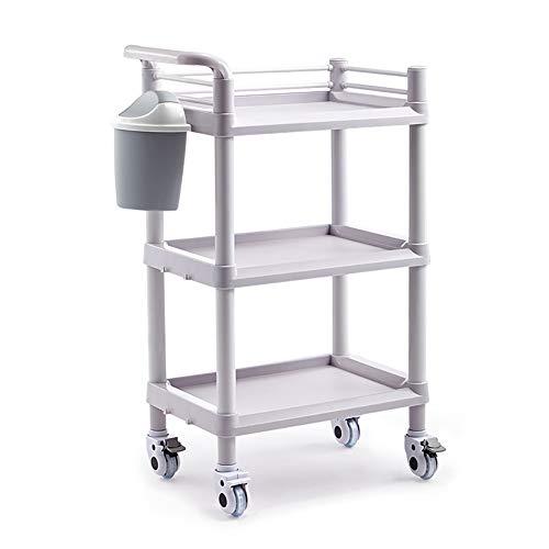 Medizinischer Wagen 3 Tier ABS-Salon für Schönheitssalon mit Schmutzkübel, mobiler Wagen für medizinische Ausrüstung mit Bremsrad, Friseur-Utility-Rollwagen