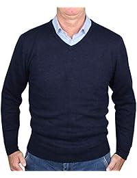 955cd19cd02a 1stAmerican langärmliger Pullover Herren mit V-Ausschnitt in verschieden  Farben aus Kaschmir und Seide -
