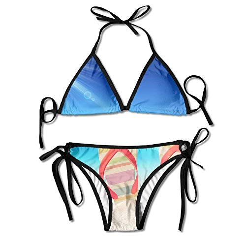 Ruffled Shell (Bikini Swimwear Flip-Flops Shells Sunshine Printing Sexy Two-Piece Bikini Set Beach Bathing Suit)