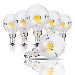 G45/G14 kopfspiegellampe, 4W Halbchrom LED Birne, E14 Candelabra Sockelleuchte, Ersatz für 40-W-Glühbirne, warmweiß (2700 Kelvin), Nicht dimmbar,6 der pack