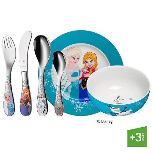 WMF Disney Frozen Kindergeschirr, mit Kinderbesteck, 6-teilig, ab 3 Jahren, Cromargan Edelstahl poliert, spülmaschinengeeignet, farb- und lebensmittelecht