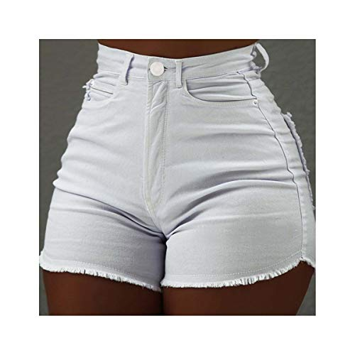 Sexy Skinny High Waist Hot Jeans Shorts 2019 Summer New Women Casual Button Pocket Slim Sexy Denim Short Feminino Solid Vintage White S -