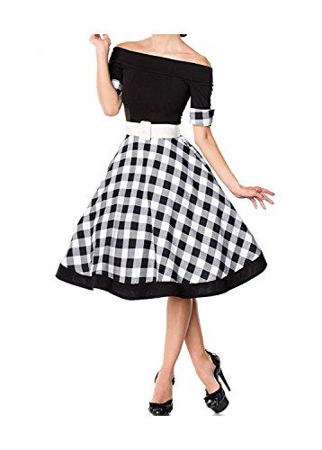 Belsira Damen schulterfreies Swing-Kleid im Retro Style