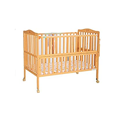 Maybesky Cot Bed Baby Cot Children's Bed Solid Wood Non-Lacquered Bed Multifunctional Bed Pine Beds Cradle Safety Wooden Barrier (Color : Natural, Size : 112.5 * 68 * 97cm)