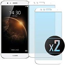 2 x Cristal Templado Protector de Pantalla Para Huawei G8 (GX8) (White)- NEVEQ® Vidrio Templado, el Huawei G8 GX8 Full Screen White (5.5) Pulgadas piel Protectora de la Cubierta.
