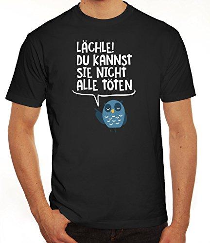 Eule Herren T-Shirt mit Lächle du kannst sie nicht alle töten Motiv von ShirtStreet Schwarz