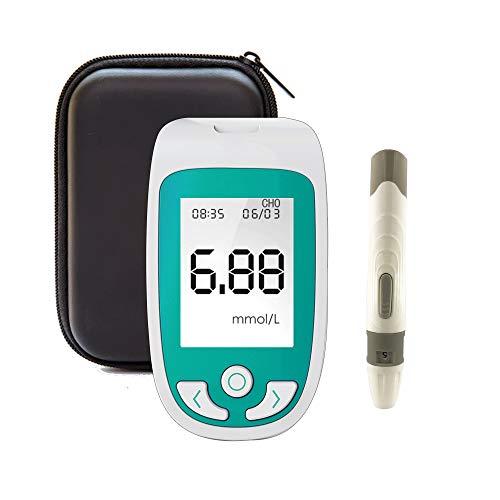 WSN Blutzuckermessgerät 3-in-1-Blutzuckertest, Cholesterin- und Harnsäuremonitor-Kit, multifunktionaler Keton-Blutzuckertest mit DREI Teststreifen