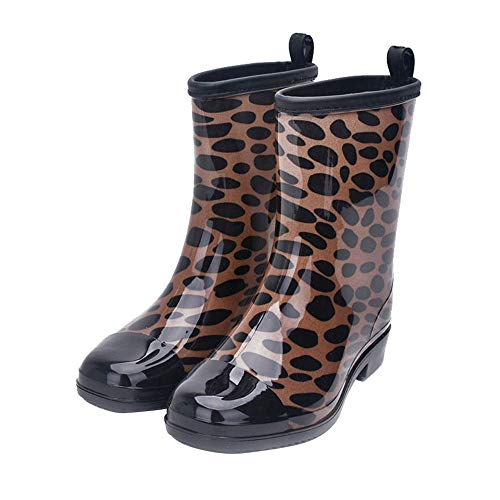 SKYROPNG Botas De Agua para,Europeos Y Americanos De Leopardo De Moda Botas De Agua Tubo Medio Slip Impermeable Wear-Resistant Botas De Agua Mujer Zapatos De Agua 40