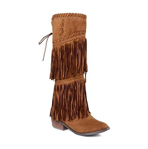 CYMIU Damen Fransen Stiefel Leder Chunky Mitte Ferse 3340414243 Große Größe Schuhe Weben Hohe Tube Seitlichem Reißverschluss Weibliche Stiefel, 40 - 5/4 Western Leder