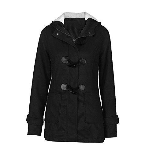 Coversolate Forme a mujeres rompevientos Outwear de lana delgada caliente larga capa chaqueta del foso (XXXL, Negro)