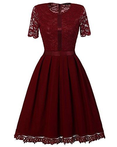 Donna Elegante Vestito Pizzo da Cerimonia a Manica corta Abito da cocktail Eleganti Vestiti da Sera Lungo Vino rosso