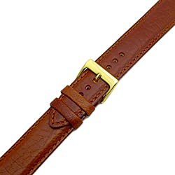 Verona Padded Camel Grain XL Extra Long Leather Watch Strap Band 18mm Tan with Gilt (Gold Colour) buckle
