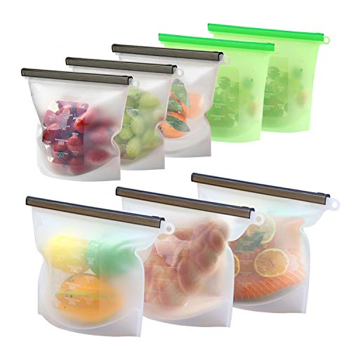 8 Pack Reusable Silicone Food Storage Bag (5 Medium & 3 Large) for Sandwich/Sous Vide/Snack/Lunch/Fruit, Leakproof, Dishwasher Safe, Microwave Freezer, Maintain Freshness and Food Quality -