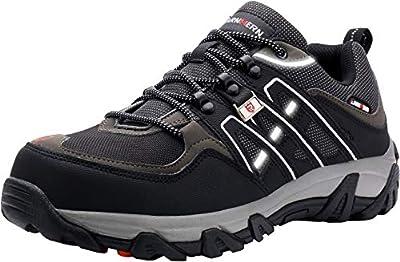 LARNMERN Sicherheitsschuhe Arbeitsschuhe Herren, Sicherheit Stahlkappe Stahlsohle Anti-Perforations Luftdurchlässige Schuhe