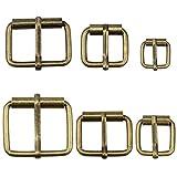 Hysagtek 60 hebillas de metal de bronce para cinturones, hebilla, para bolsas, correa de cuero, accesorios de bricolaje, 6 tamaños - 3,3 cm, 3,18 cm, 2,54 cm, 0,79 pulgadas,...