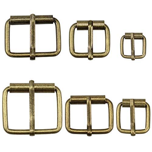 Hysagtek 60 hebillas de metal de bronce para cinturones, hebilla, para bolsas, correa de cuero, accesorios de bricolaje, 6 tamaños - 3,3 cm, 3,18 cm, 2,54 cm, 0,79 pulgadas, 1,7 cm, 1,51 cm