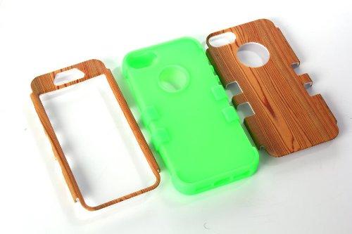 iPhone 5S Coque,iPhone SE Coque,Lantier Wood Design 3 IN 1 [Hard PC+Soft TPU Silicone] Armure antichoc Résistance Chute hybride Housse de protection pour Apple iPhone 5 5S SE Bleu Wood Mint Green