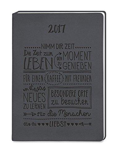 Timer Schwarz 2017: Terminplaner in Lederoptik - Leder Zwei Tasche Tragen