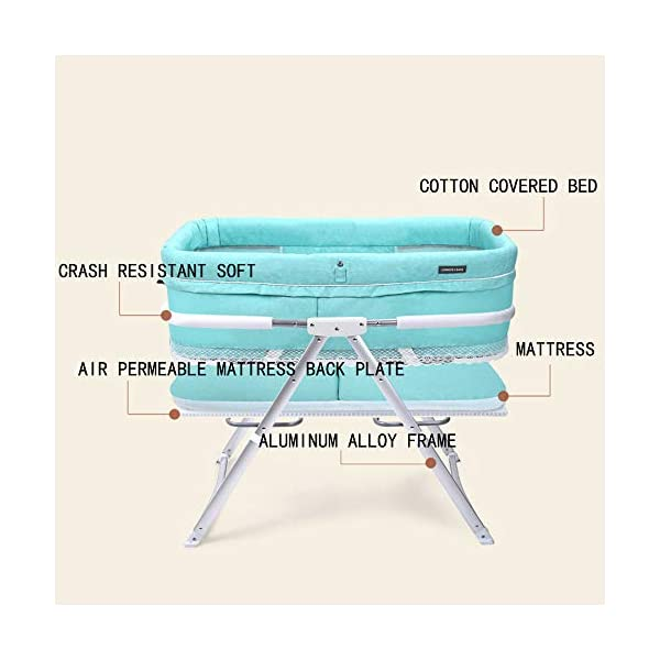 VISTANIA Baby Crib, Foldable Compact Travel Cot 0-6 Months,Gray  baby with a soft and comfortable place to sleep at any time: at home, on vacation, or when visiting family. A deep comfortable fitted mattress will leave your baby feeling calm and relaxed, allowing them to slowly drift off to sleep, the soft airy full view mesh surround allows full breathability and visibility on your little one Lightweight durable modern design,weighs just 7kg, gives excellent portability from one room to the next 7