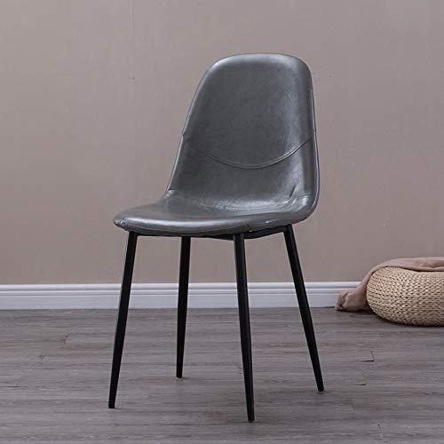 Ygetas Nordic pu leder esstisch und stühle einfache haushalts freizeit europäischen leder stuhl schreibtisch cafe komfortable rückenlehne langlebig weichen esszimmerstuhl (Color : Gray-Black legs)