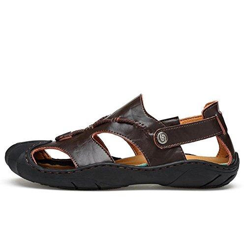 Männer Leder Sport Sandalen Mode Vorderseite Paket Wasser Schuhe Sommer Soft Cowhide Beach Schuhe Brown