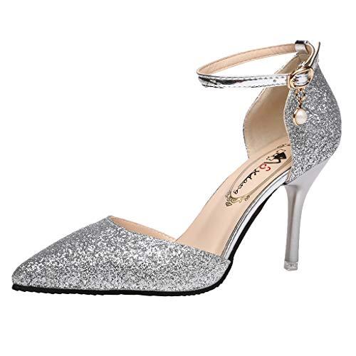 SANFASHION Damen Wilde Hochhackige Pumps Geschlossene Zehen Glitzer Feine High Heel Schuhe Pointed Toe Sandaletten - Falke-high Heel