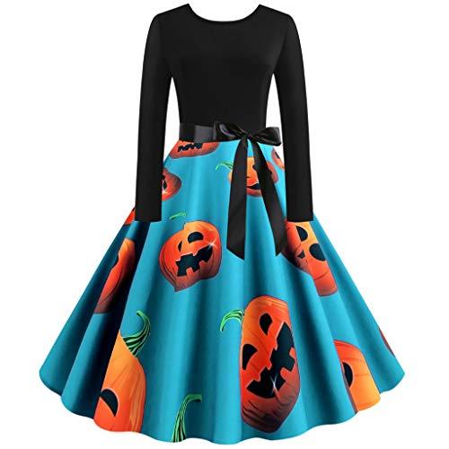 LOPILY Kleider Damen Halloween Kleid Damen Kürbis 3D Druck Kleid Schleife Cocktailkleid Eleganter Abendkleid Gruselige Kostüme für Halloween Party Hingucker (Blau, 32) (Pinguin Kostüm Kinder Selbstgemacht)