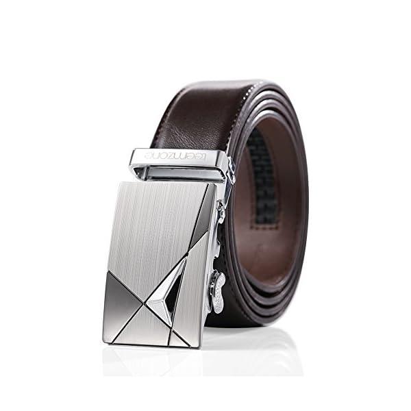 teemzone Para hombre Cinturón en Piel con Hebilla Automática de 33 mm de Ancho de la Correa del Cinturón