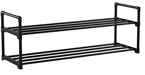 SONGMICS Schuhregal mit 2 Ebenen, Schuhaufbewahrung aus Metall, für bis zu 10 Paar Schuhe, Schuhorganizer für Wohnzimmer, Flur und Ankleidezimmer, 92 x 30 x 33 cm, schwarz LSA12BK