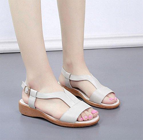 scarpe aperte sandali parola stile delle donne con il tempo libero piatto morbido fondo scarpe comode selvatici White
