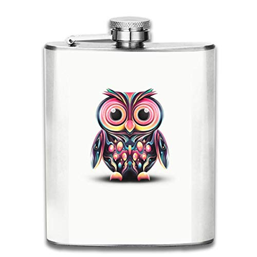 Gxdchfj Owl Vector 7 Oz Pocket Hip Alcohol Liquor Flask Print Printing-Made from 304(18/8) Food Grade Stainless Steel