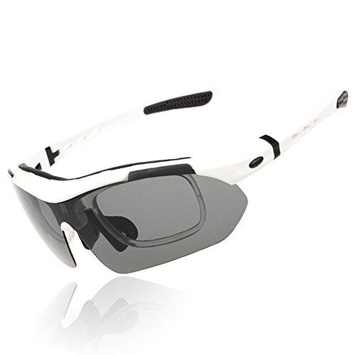 Yiph-Sunglass Sonnenbrillen Mode Herren Polarisierte Sport Sonnenbrille Mit 5 stücke Wechselobjektiven Outdoor Radfahren Baseball Laufen Angeln Fahren Golf (Farbe : Weiß)