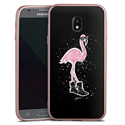 DeinDesign Silikon Hülle Rosé Gold Case Schutzhülle kompatibel mit Samsung Galaxy J3 Duos 2017 Flamingo Sonnenbrille Shoes