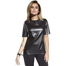 Firstclass Trendstore Lederoptik Shirt   Gr. S-L   Damen Bluse Leder-Look  Wetlook halbarm 333fc5a040