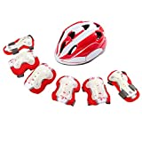 WSJ Children es Protective Equipment Set of Seven, Helm, Elbow Pads, Kniekebeln, Hand-Guards, Lüftung ist Nicht Stuffy, geeignet für alle Kinds of Outdoor Sports, S, M,Reds